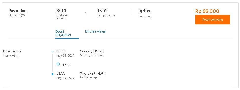 Harga Tiket Kereta Api Rute Surabaya Gubeng-Lempuyangan Jogja