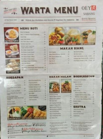 Menu Makanan di Kopitiam Oey