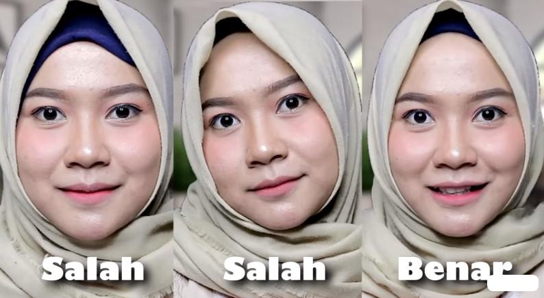 Pemakaian Hijab Segi Empat Untuk Wajah Bulat yang Salah Hijab Terlalu Maju ke Depan
