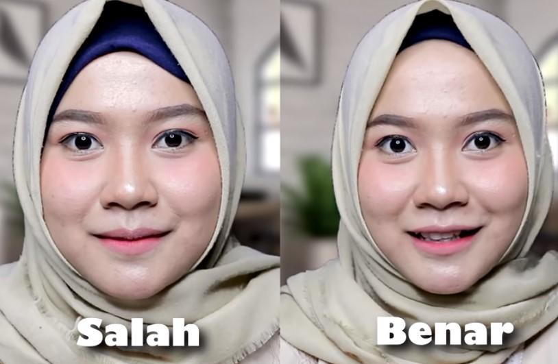 Pemakaian Hijab Segi Empat Untuk Wajah Bulat yang Salah Inner dan Hijab yang Terlalu Maju ke Depan