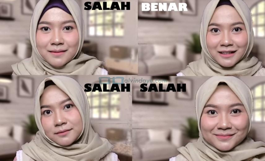 Pemakaian Hijab Segi Empat Untuk Wajah Bulat yang Salah Membuat Lipatan Hijab Terlalu Tegas