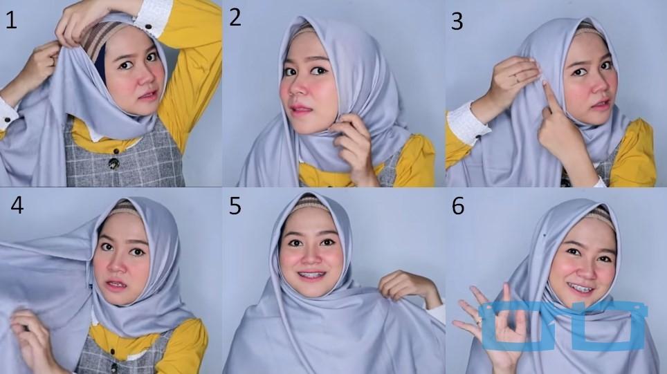 Tutorial Hijab Segi Empat Menutup Dada Syari untuk Wajah Bulat