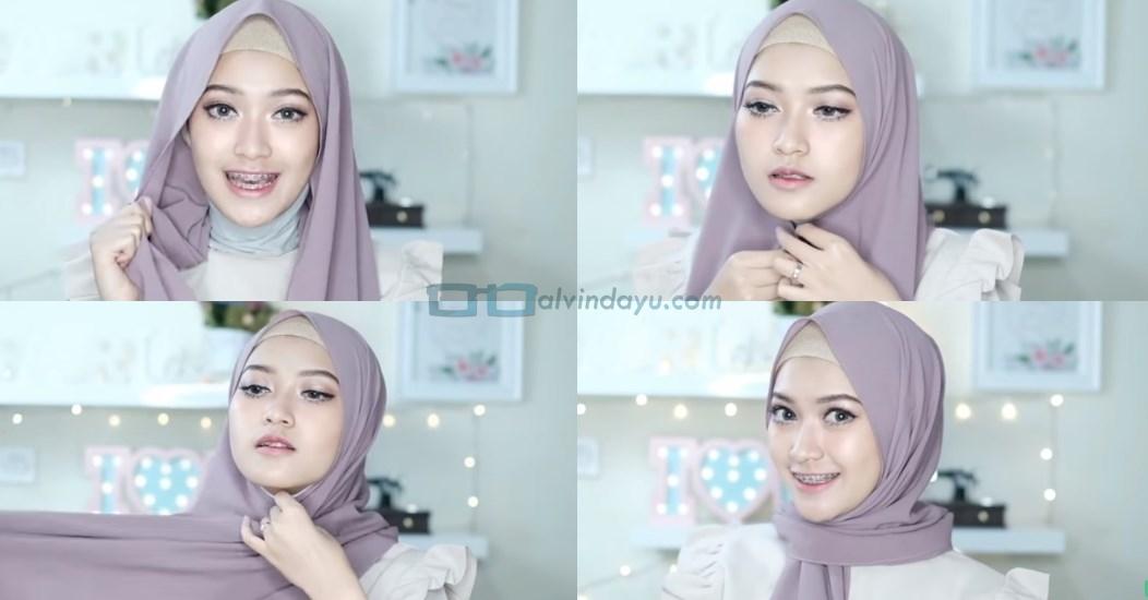 Tutorial Hijab Pashmina Pesta Modern Tanpa Jarum Pentul