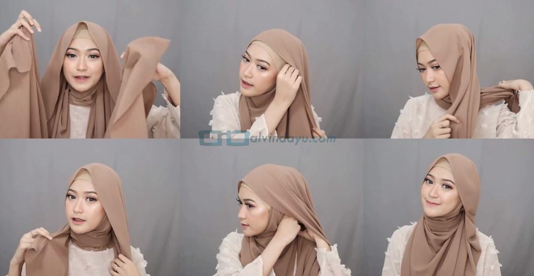 Tutorial Hijab Pashmina Simple Menutup Dada untuk Wajah Bulat