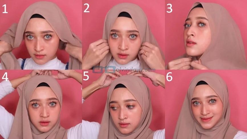 Tutorial Hijab Pashmina Wajah Bulat Simple dan Mudah