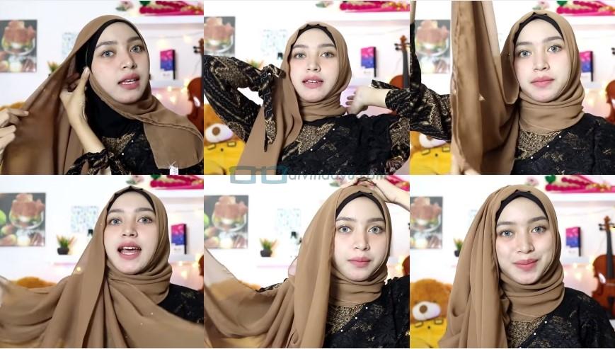 Tutorial Hijab Pesta Praktis Segi Empat