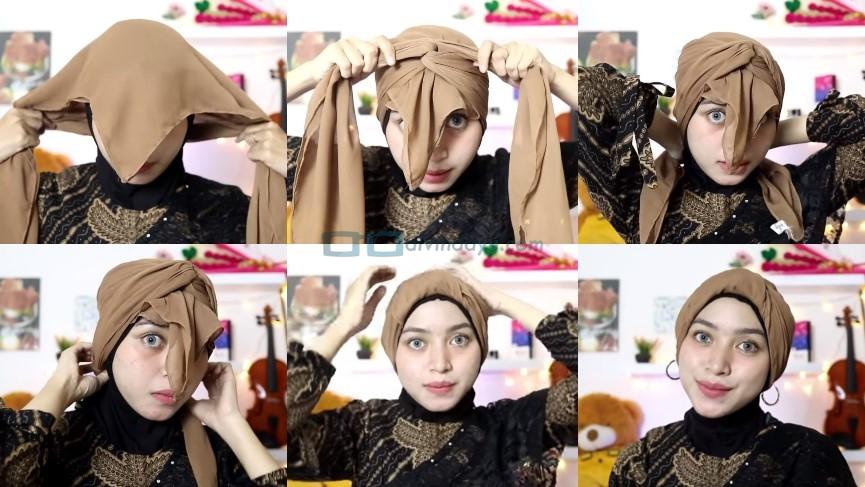 Tutorial Hijab Segi Empat Pesta Model Turban