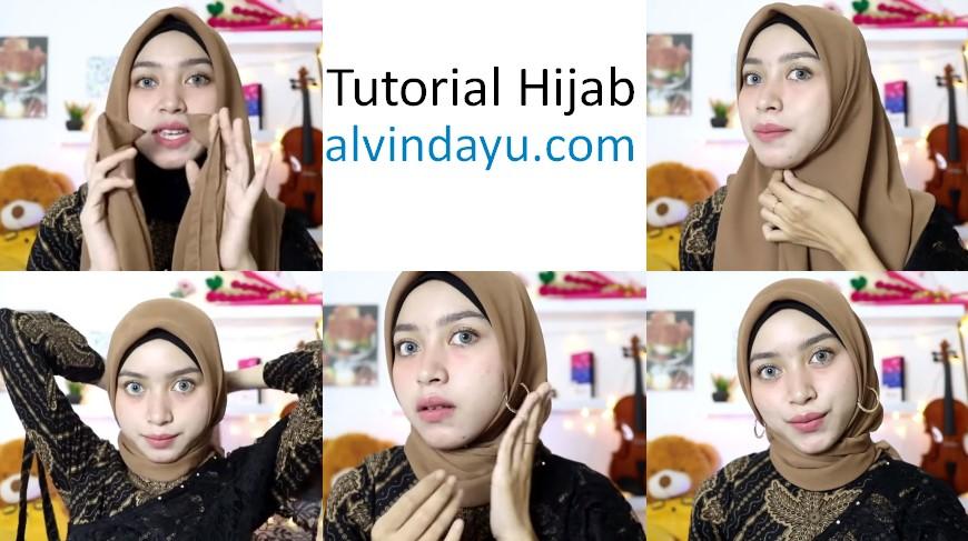 Tutorial Hijab Segi Empat Pesta Simple Modern Kekinian