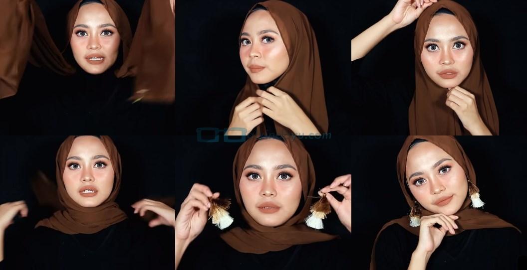 Tutorial Hijab Pashmina Diamond Wajah Bulat
