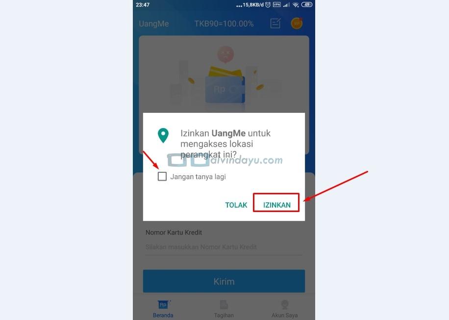 Buka dan Izinkan Aplikasi Uangme