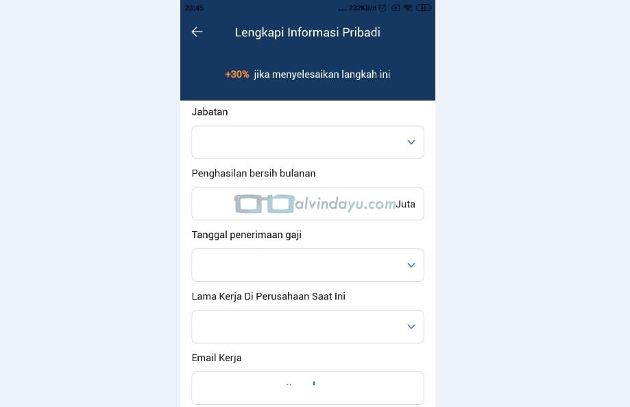 Form Informasi Pribadi Pekerjaan dan Perusahaan 2
