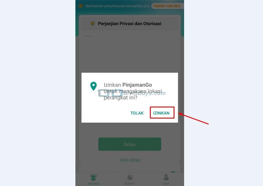 Izinkan Aplikasi Mengakses Lokasi
