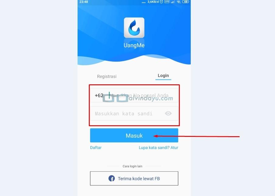 Login Aplikasi Uangme