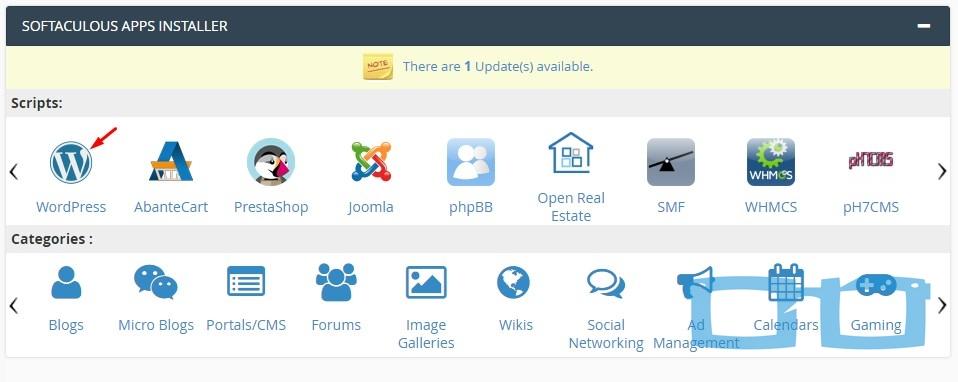 Pilih wordpress di Softaculous Apps Installer
