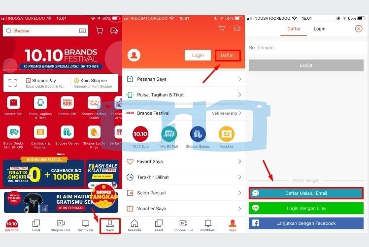 Cara Buat Akun Shopee dengan Aplikasi Melalui Email