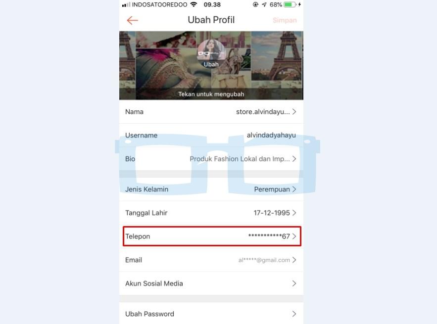 Nomor HP di Akun Profil Shopee