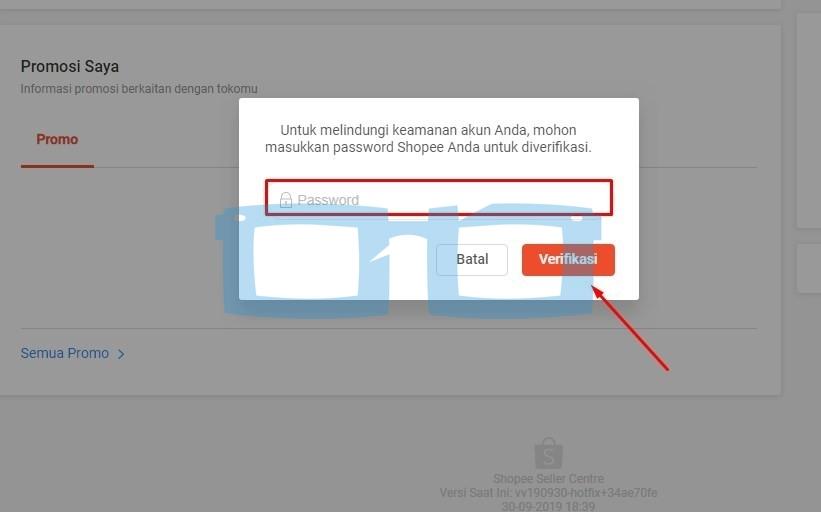 Verifikasi Password untuk Menambah Rekening Bank Shopee