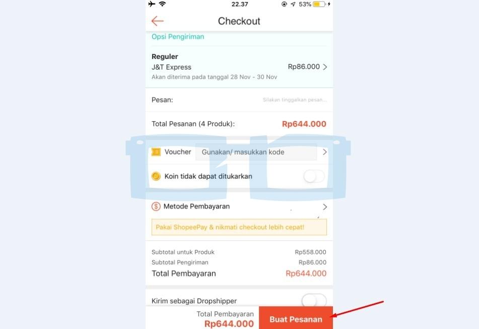 Buat Pesanan Belanja di Shopee dengan Cicilan Kartu Kredit