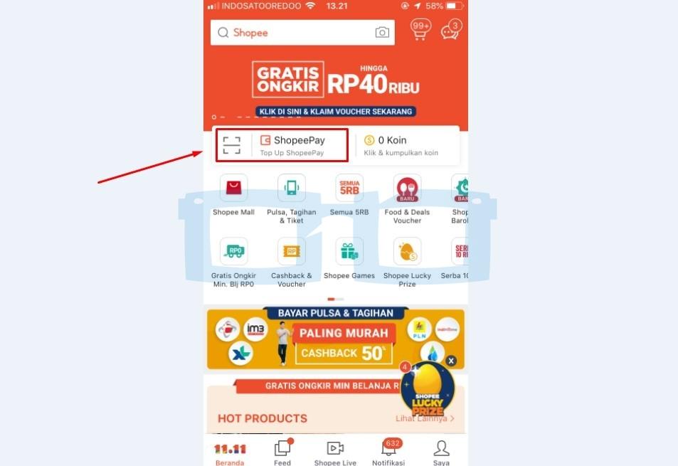 Buka Aplikasi Shopee dan Pilih Shopeepay