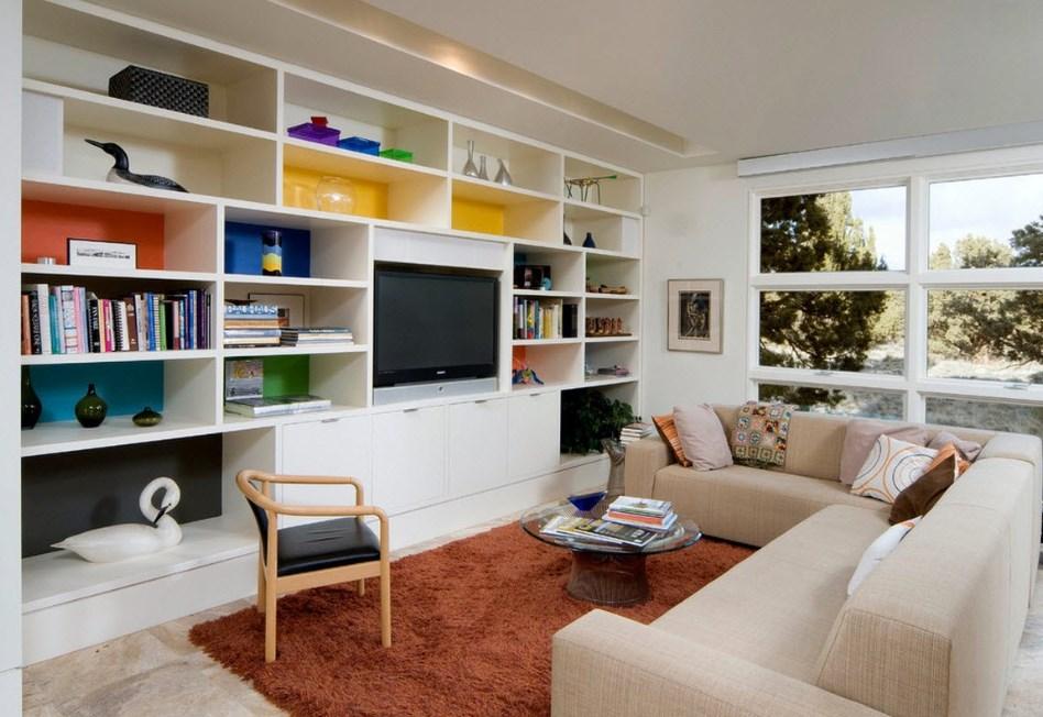 Model Furniture Minimalis Terbaru Ruang Keluarga Rak TV dan Buku