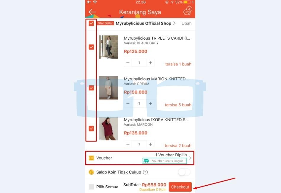 Pilih Barang Shopee yang Akan Dibeli