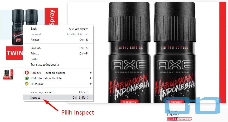 Pilih Inspect element di gambar produk lazada