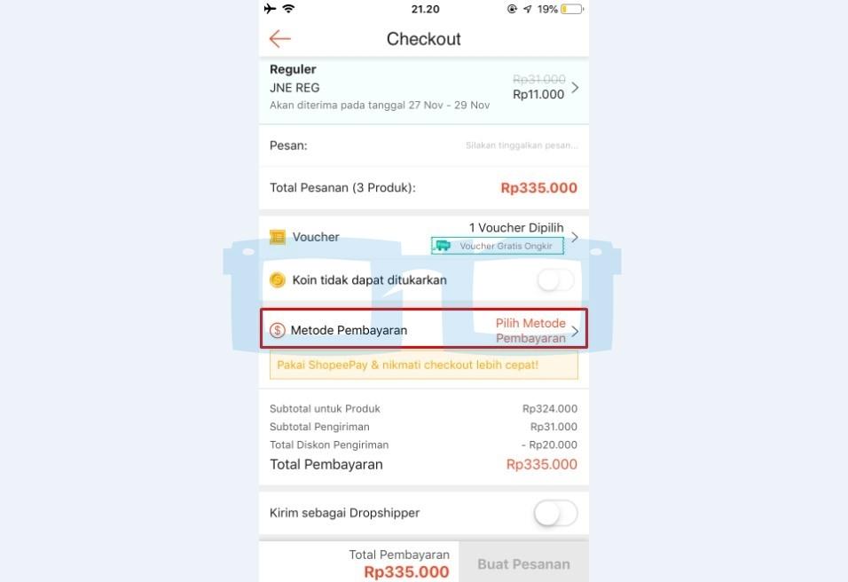 Pilih Metode Pembayaran Shopee Gratis Ongkir