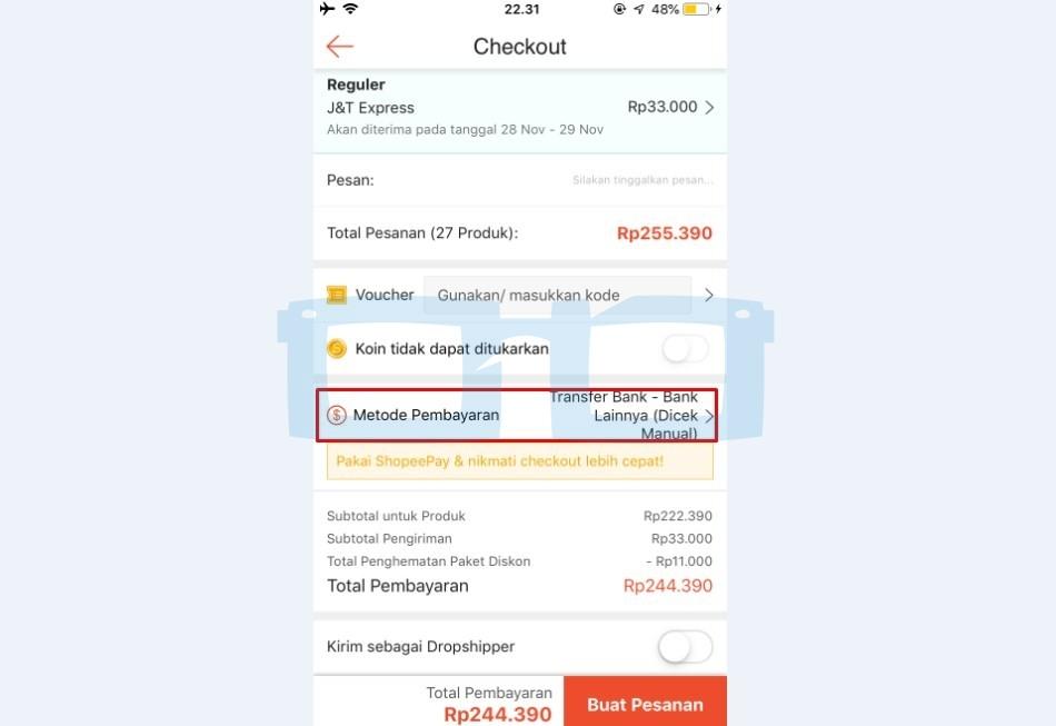 Pilih Metode Pembayaran Shopee via Bank Transfer