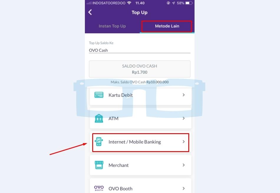Top Up OVO via Mobile Banking