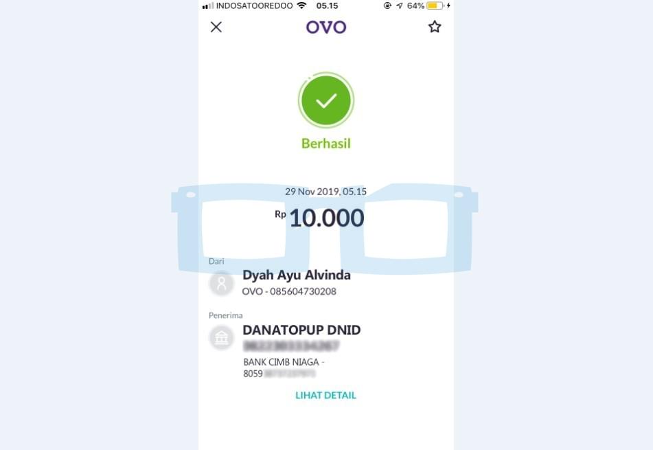 Transfer OVO ke Dana Berhasil