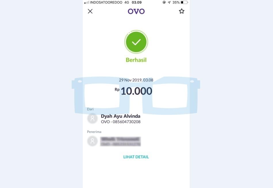 Transfer OVO ke OVO Selesai dan Berhasil
