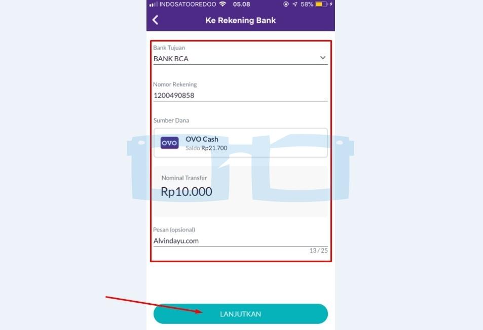Transfer OVO ke Rekening Bank BCA