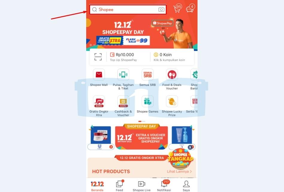 Buka Aplikasi Shopee dan Cari Produk Shopee