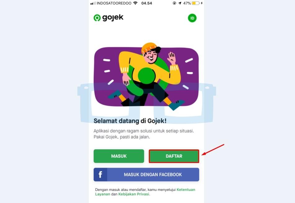 Buka Aplikasi dan Daftar Gojek