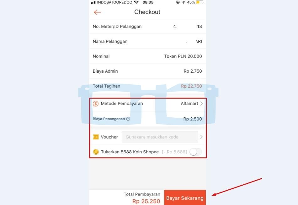 Checkout Token Listrik di Shopee Bayar Lewat Alfamart