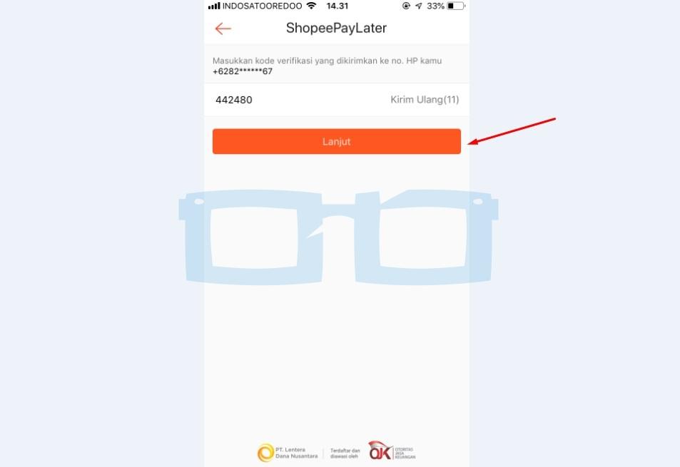 Kirim Kode Verifikasi OTP untuk Mengaktifkan Shopeepay Later 3