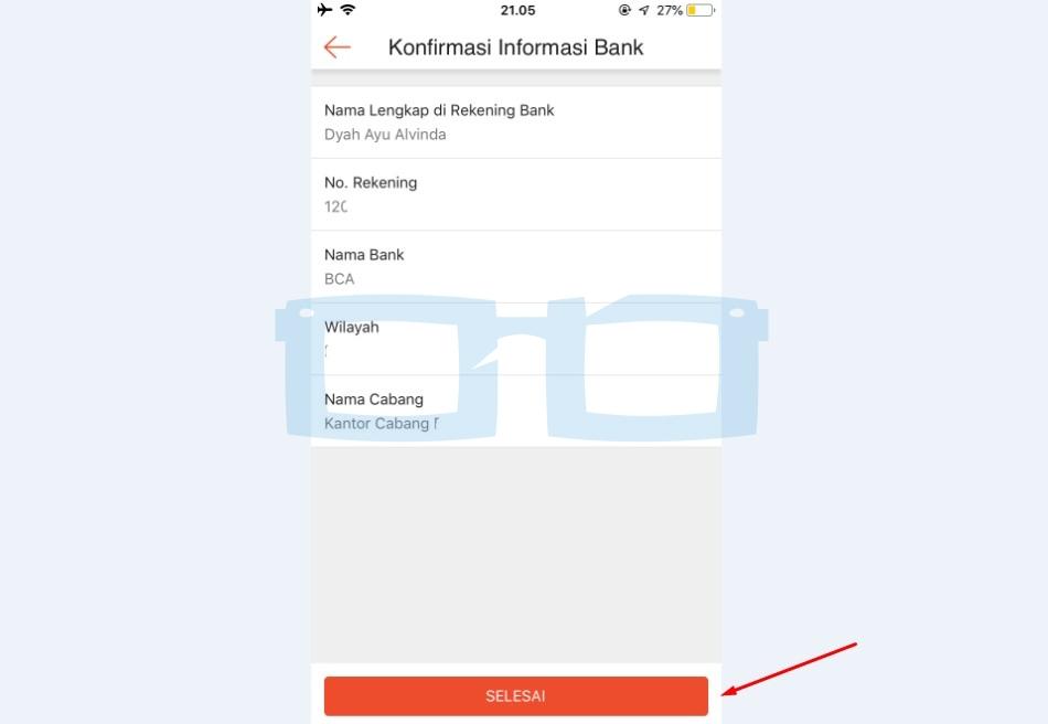 Konfirmasi Informasi Rekening Shopeepay