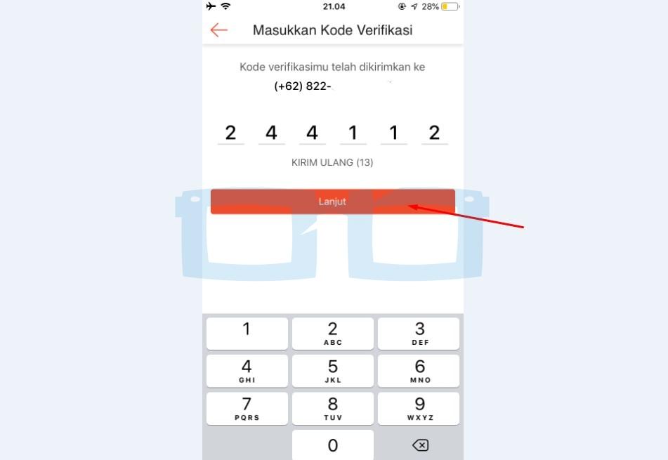 Lanjut Kirim Kode Verifikasi OTP Shopeepay