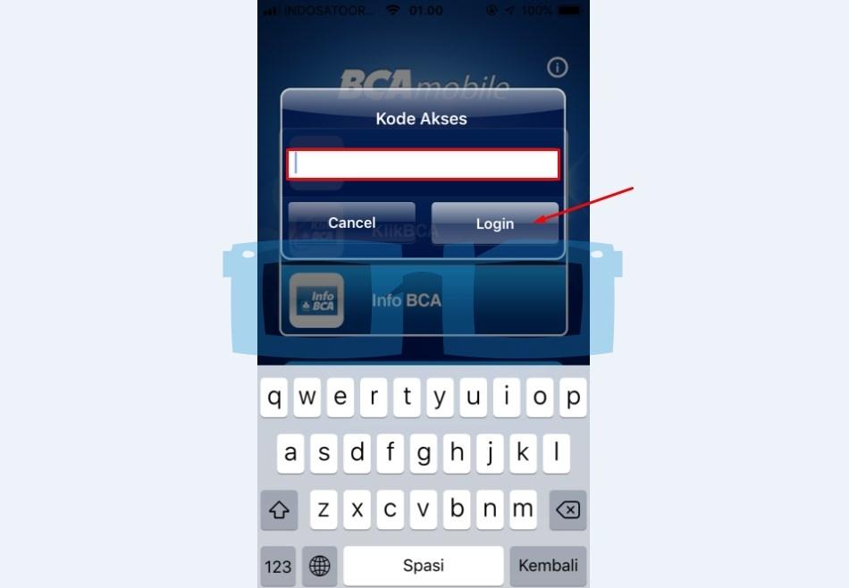 Masukkan Kode Akses dan Login mBCA