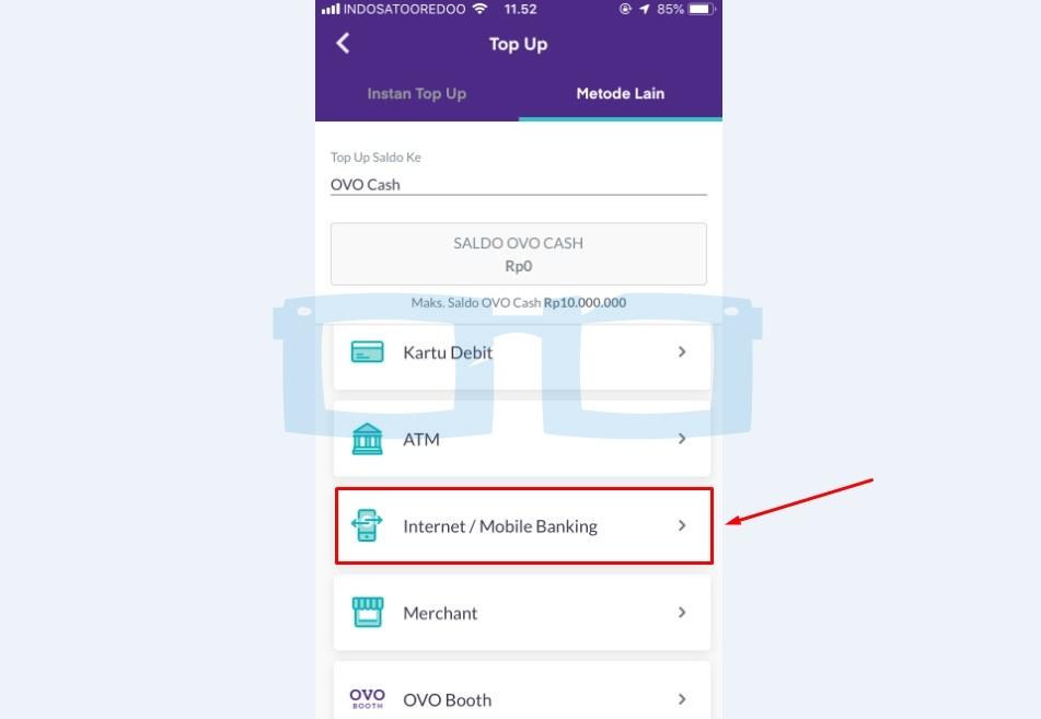 Pilih Menu Internet atau Mobile Banking