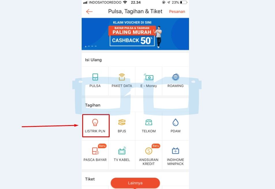 Pilih Menu Tagihan Listrik PLN