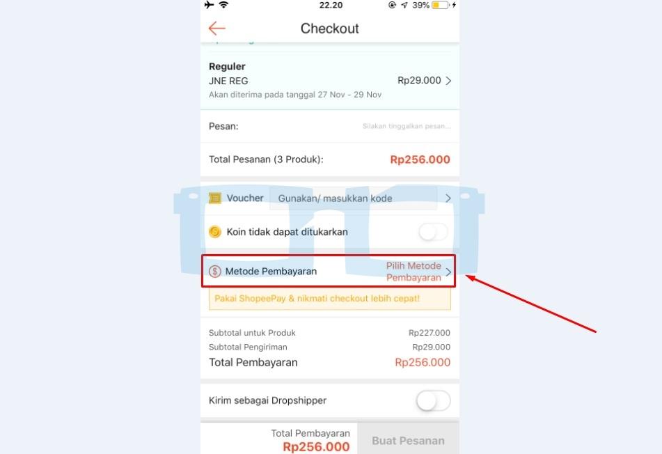 Pilih Metode Pembayaran Shopee