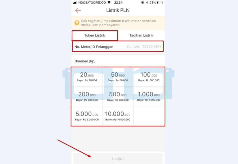 Pilih Token Listrik dan Isi Nomor Meter serta Nominal Token yang Akan Dibeli