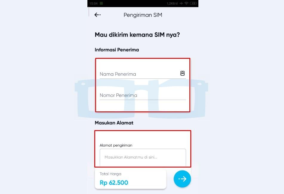 Masukkan Nama dan Alamat Pengiriman SIM Card by U