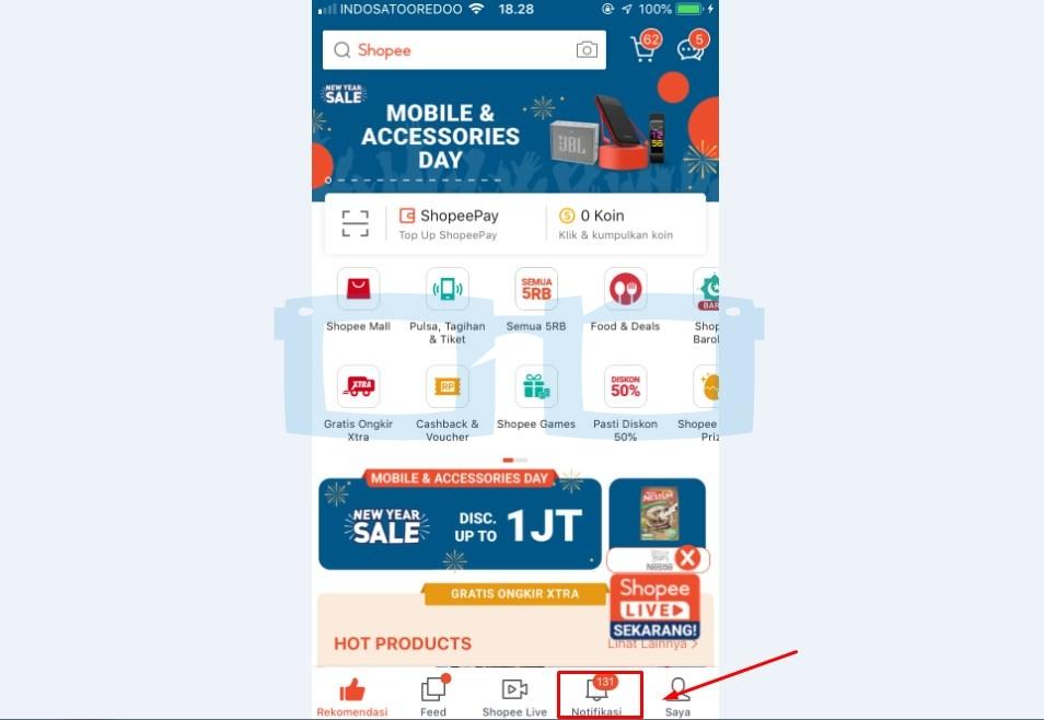 Pilih Menu Notifikasi ntuk Tahu Pengajuan Penambahan Limit Shopee Paylater