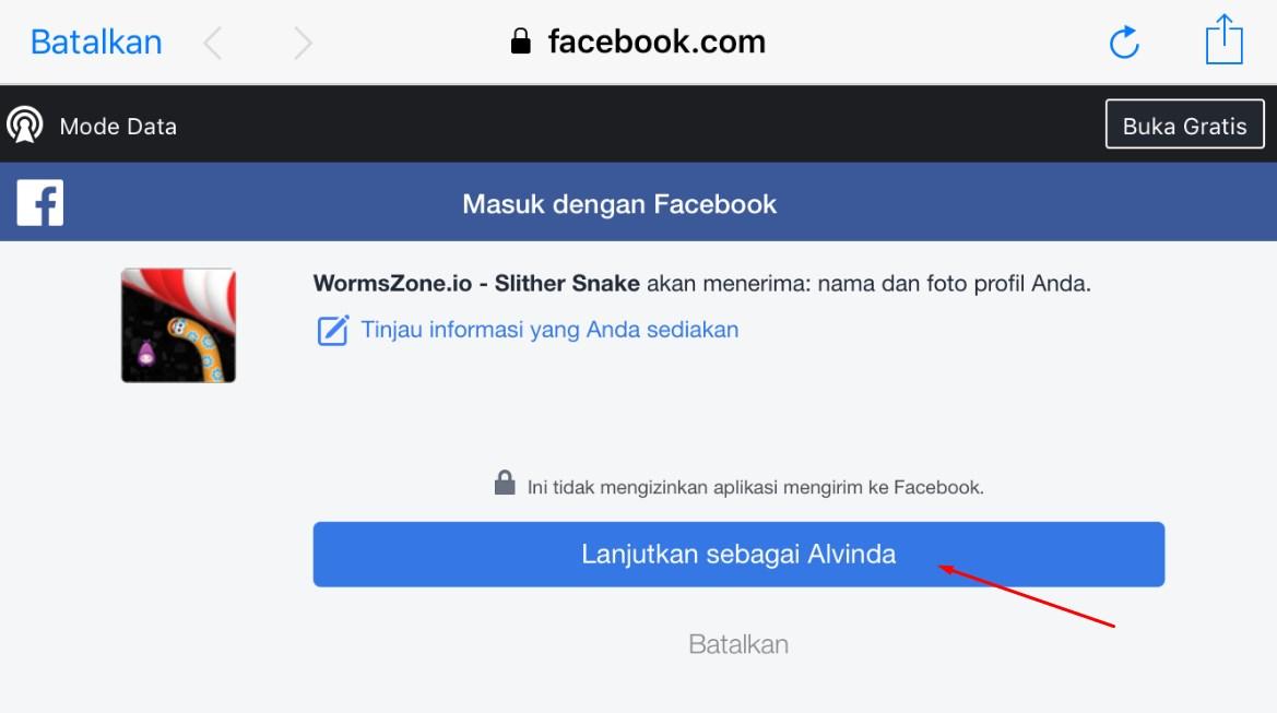 Klik Lanjutkan sebagai Akun Nama Facebookmu