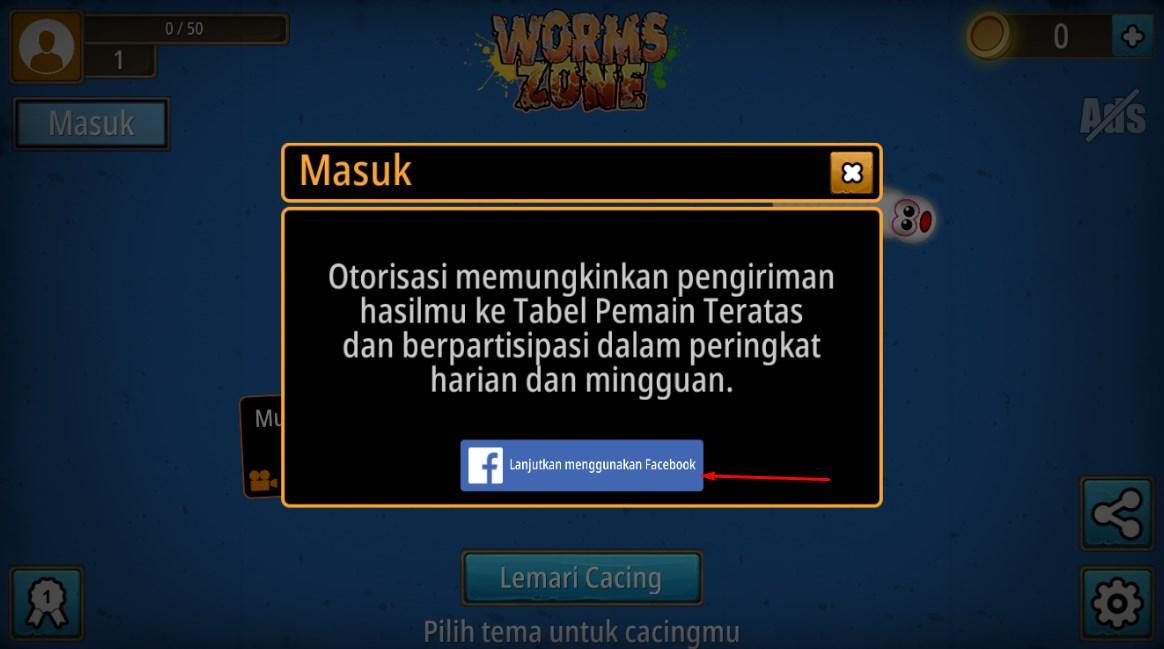 Masuk Worm Zone Menggunakan Facebook