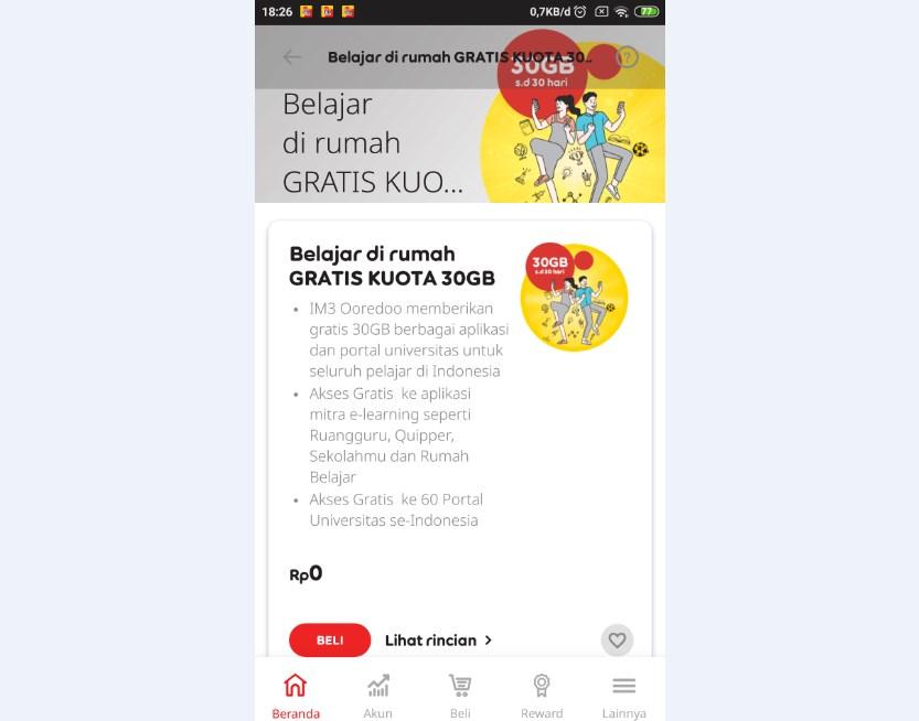 Kuota Gratis 30GB Indosat Belajar di Rumah