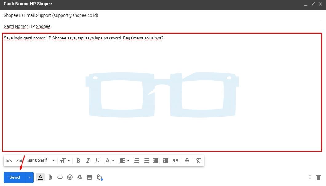 Isi Email dan Kirim ke CS Shopee